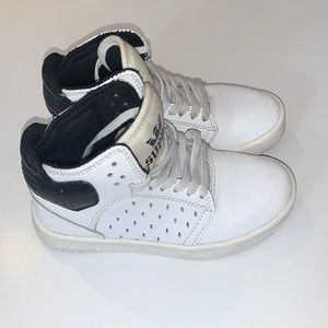 Supra kids white and black high top sneakers US11